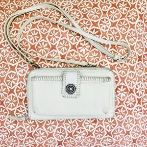 Brighton white leather crossbody purse wallet